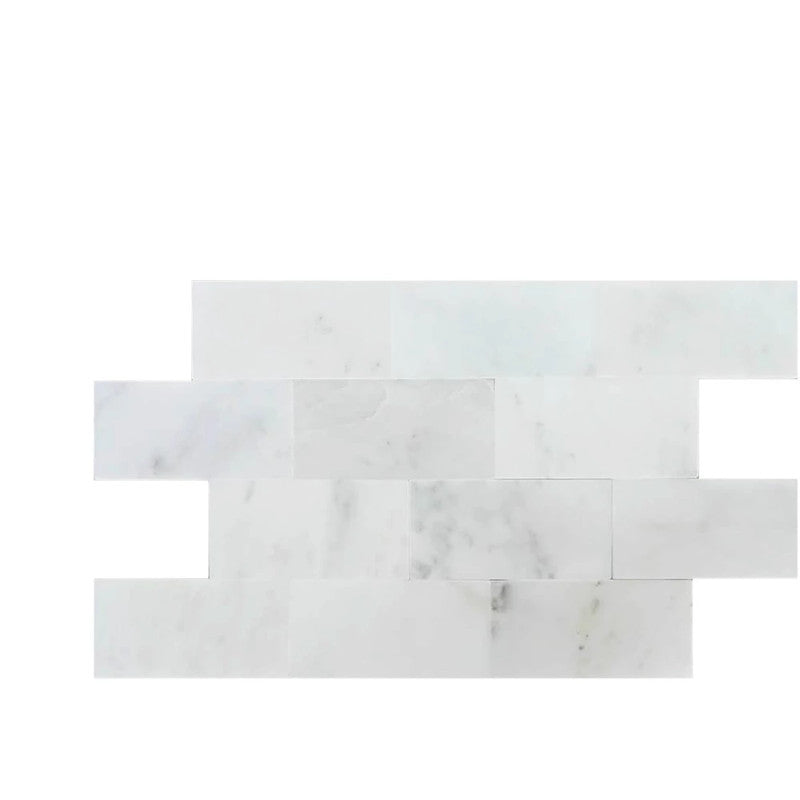 Asian Statuary (Oriental White) Marble 6x12 Honed Tile - TILE AND MOSAIC DEPOT