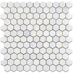 Asian Statuary (Oriental White) Marble 1x1 Hexagon Honed Mosaic Tile - TILE AND MOSAIC DEPOT