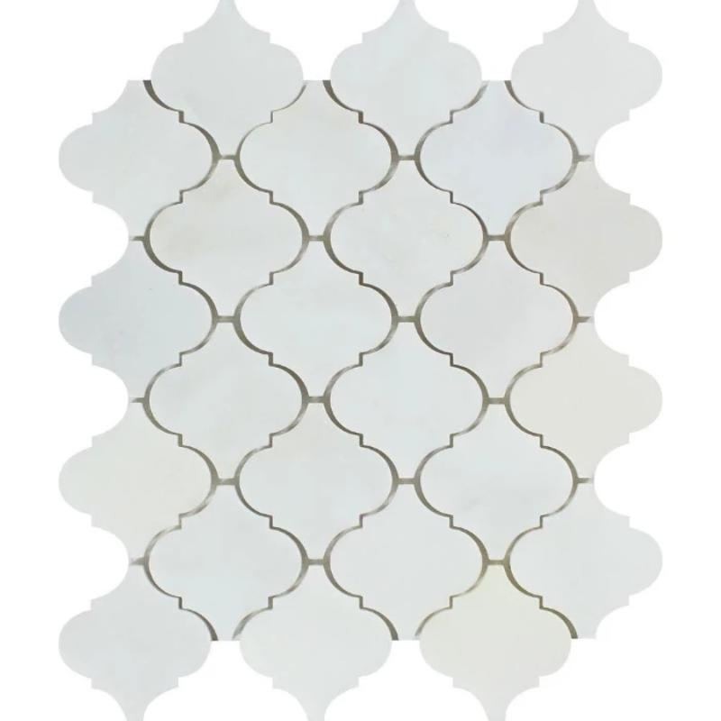 Asian Statuary (Oriental White) Marble Lantern Honed Mosaic Tile - TILE AND MOSAIC DEPOT
