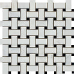 Asian Statuary (Oriental White) Marble Polished Basketweave with Black Dots Mosaic Tile - TILE AND MOSAIC DEPOT