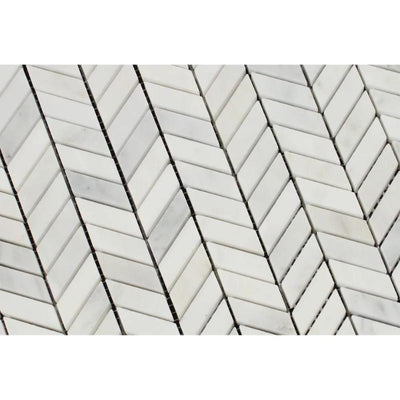Asian Statuary (Oriental White) Marble Mini Chevron Honed Mosaic Tile - TILE AND MOSAIC DEPOT