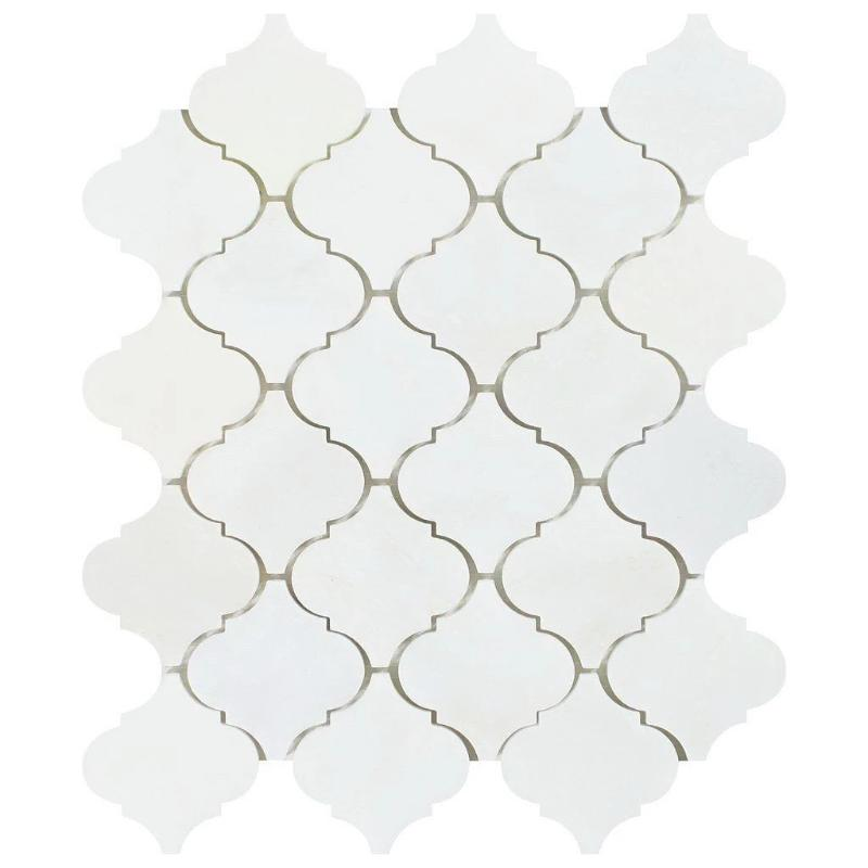 Asian Statuary (Oriental White) Marble Lantern Polished Mosaic Tile - TILE AND MOSAIC DEPOT