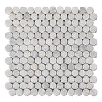 Asian Statuary (Oriental White) Marble Penny Round Polished Mosaic Tile - TILE AND MOSAIC DEPOT
