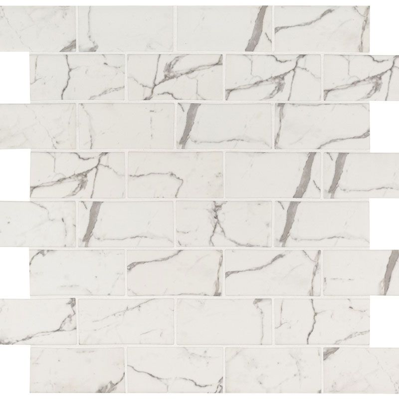 Statuario Celano 3x6 Glass Mosaic Tile - TILE AND MOSAIC DEPOT