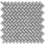 Spanish Grey Marble 1x2 Herringbone Polished Mosaic Tile