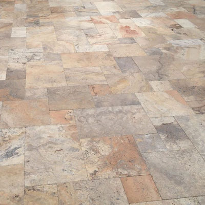 Scabos Travertine Tumbled 3cm Paver Versailles Pattern - TILE AND MOSAIC DEPOT