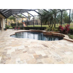 Scabas Travertine Tumbled 3cm Paver Versailles Pattern - TILE AND MOSAIC DEPOT