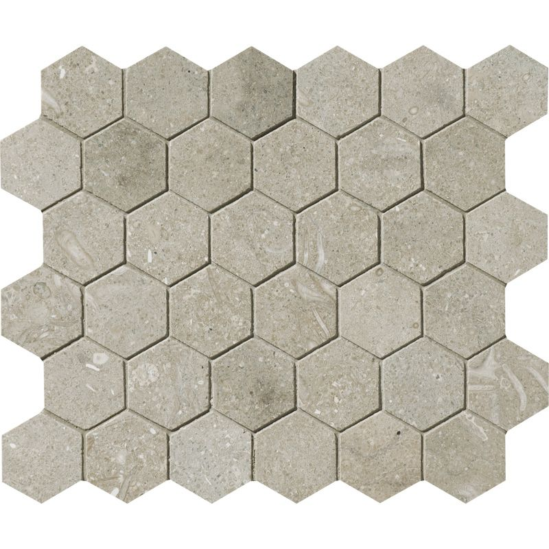 Seagrass Limestone 2x2 Hexagon Honed Mosaic Tile - TILE AND MOSAIC DEPOT