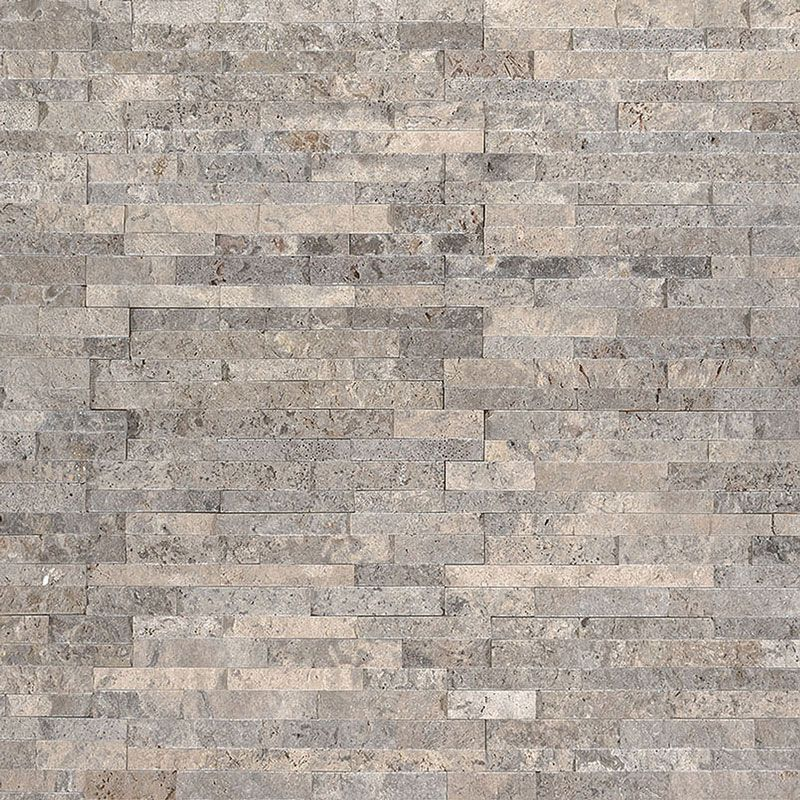 Silver Travertine 4.5x16 Split Face Mini Ledger Panel - TILE AND MOSAIC DEPOT