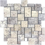 Silver Travertine Micro Mini Pattern Tumbled Mosaic Tile - TILE AND MOSAIC DEPOT