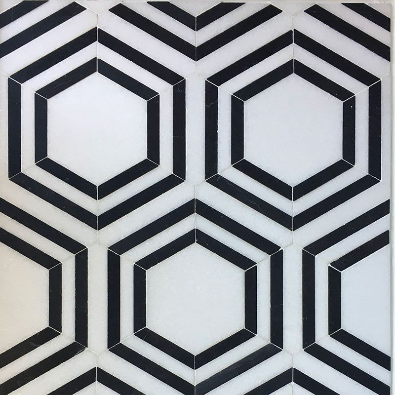 Thassos Nero Marquina Hexagon Special Design Mosaic Tile - TILE AND MOSAIC DEPOT