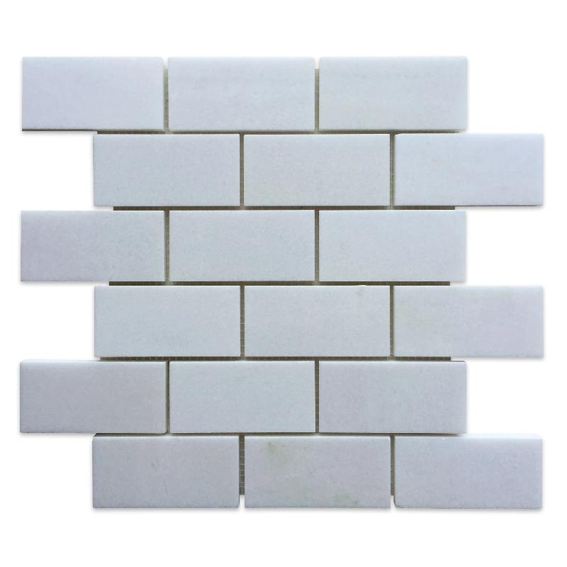 Sample Thassos White Marble 2x4 Polished Mosaic Tile - TILE AND MOSAIC DEPOT