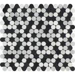 White Carrara Thassos Black Marble Penny Round Honed Mosaic Tile - TILE AND MOSAIC DEPOT