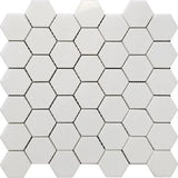 Thassos White Marble 2x2 Hexagon Polished Mosaic Tile - TILE AND MOSAIC DEPOT
