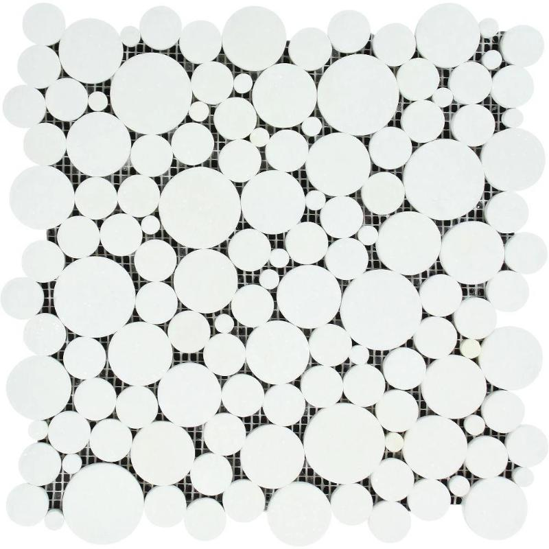 Thassos White Marble Bubble Design Polished Mosaic Tile - TILE AND MOSAIC DEPOT