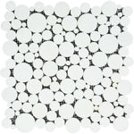 Thassos White Marble Bubble Design Honed Mosaic Tile - TILE AND MOSAIC DEPOT