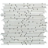 Thassos White Marble Honed Bamboo Sticks Design Mosaic Tile - TILE AND MOSAIC DEPOT