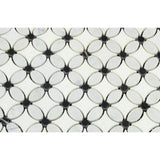 Thassos White Marble Florida Flower Polished Mosaic Tile w/Black Dots - TILE AND MOSAIC DEPOT