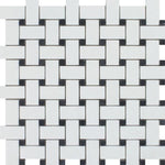 Thassos White Marble Honed Basketweave with Black Dots Mosaic Tile - TILE AND MOSAIC DEPOT