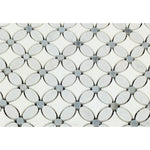 Thassos White Marble Florida Flower Polished Mosaic Tile w/Blue Dots - TILE AND MOSAIC DEPOT