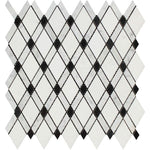 Thassos White Carrara Black Marble Lattice Polished Mosaic Tile - TILE AND MOSAIC DEPOT