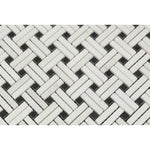 Thassos White Marble Stanza Black Dot Polished Mosaic Tile - TILE AND MOSAIC DEPOT