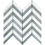 Thassos White Marble Chevron with Blue Strips Polished Mosaic Tile - TILE AND MOSAIC DEPOT