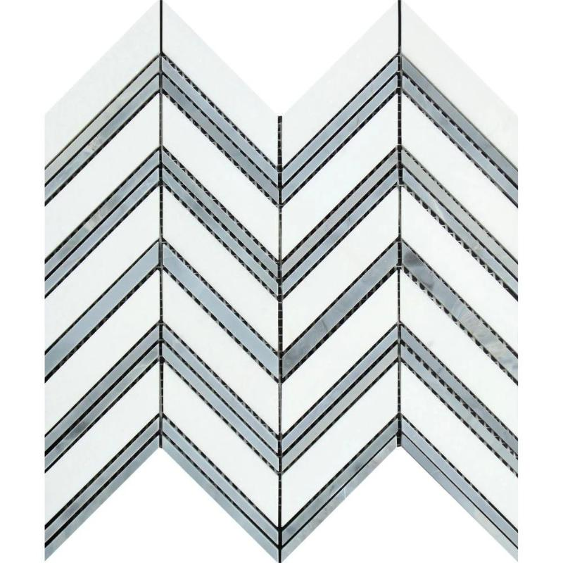 Thassos White Marble Chevron with Blue Strips Honed Mosaic Tile - TILE AND MOSAIC DEPOT