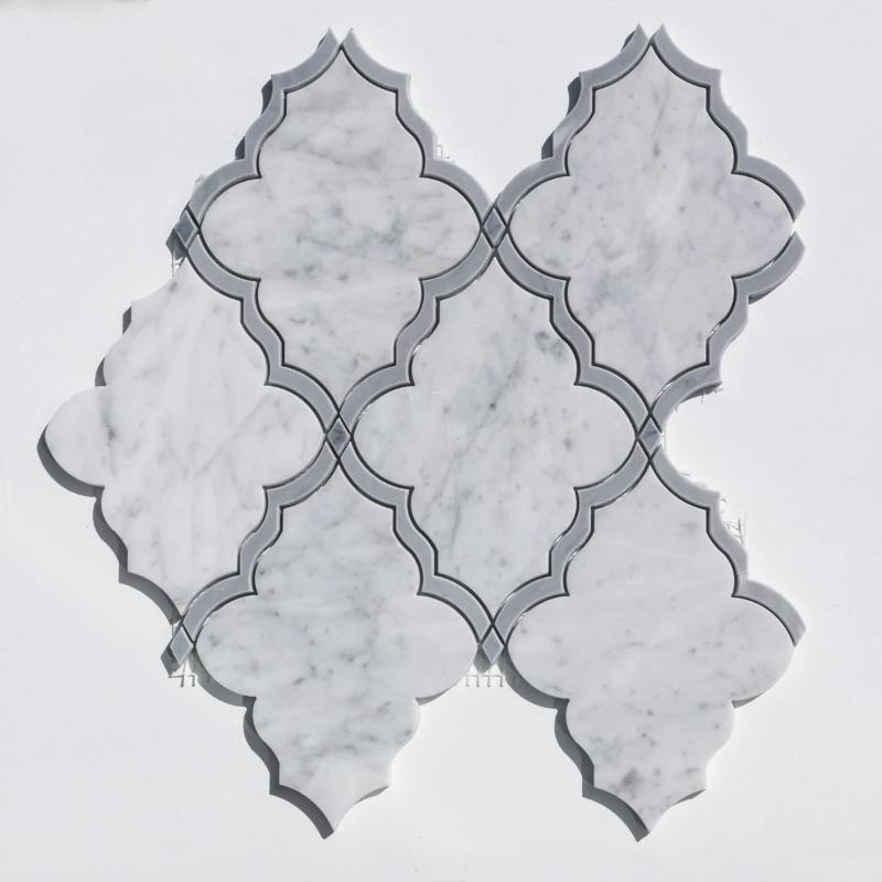 Roman Carrara Bardiglio Special Design Marble Mosaic Tile - TILE AND MOSAIC DEPOT