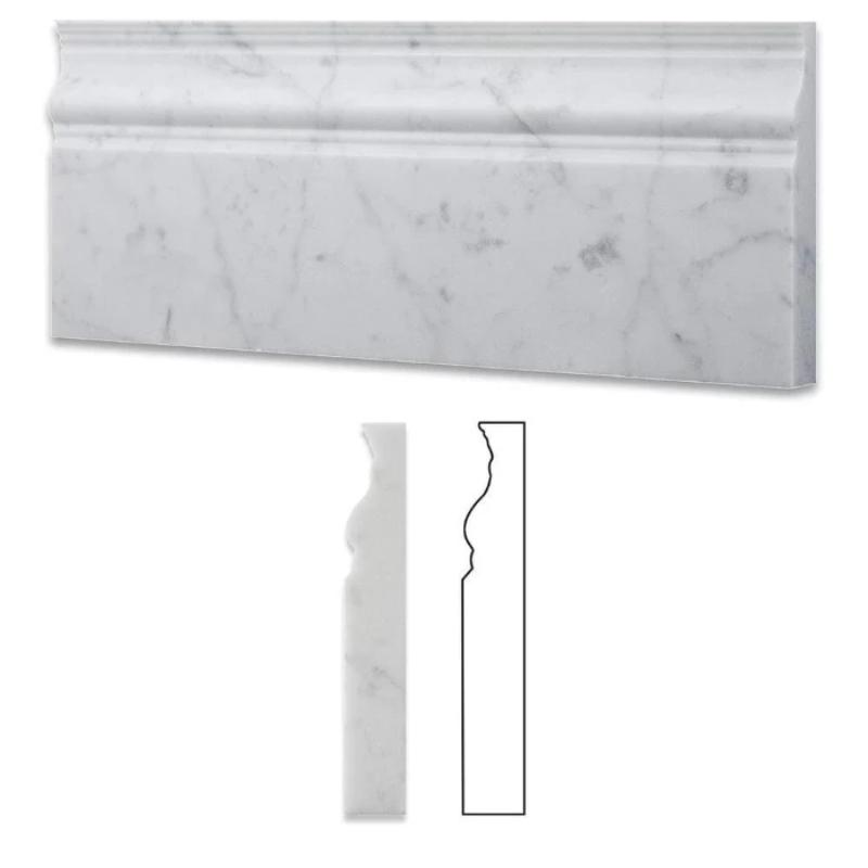 White Carrara Marble 4 3/4x12 Honed Baseboard Molding - TILE AND MOSAIC DEPOT