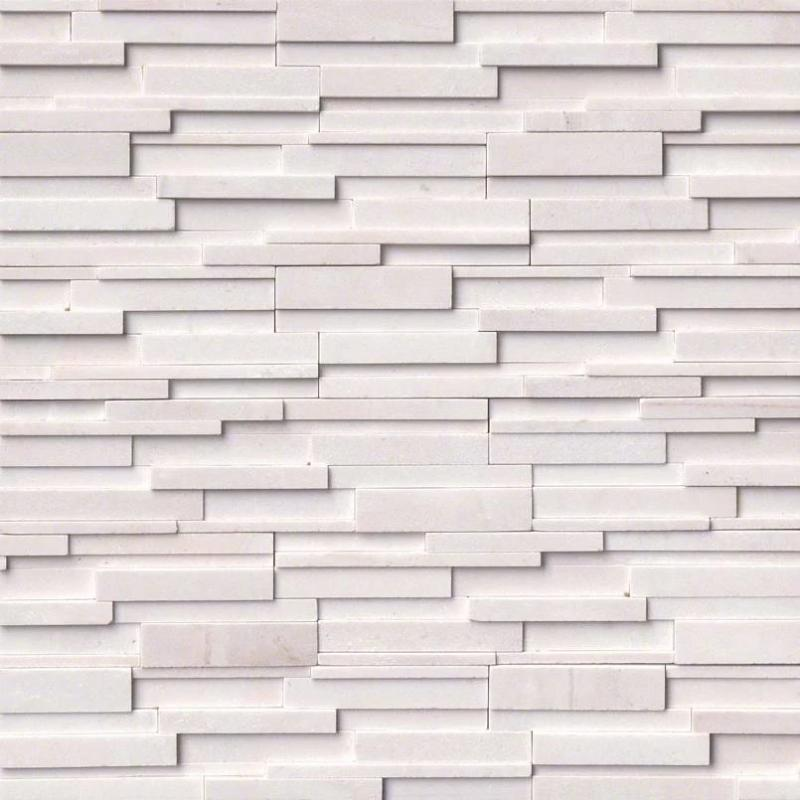Arctic White Marble 6x24 3D Stacked Stone Ledger Panel - TILE AND MOSAIC DEPOT