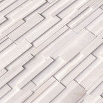 Arctic White Marble 6x24 3D Stacked Stone Ledger Panel - TILE & MOSAIC DEPOT