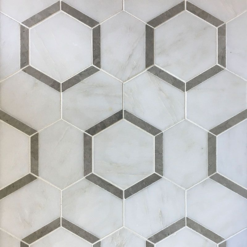 Asian Statuary Talia Gray Hexagon Marble Polished Mosaic Tile - TILE AND MOSAIC DEPOT