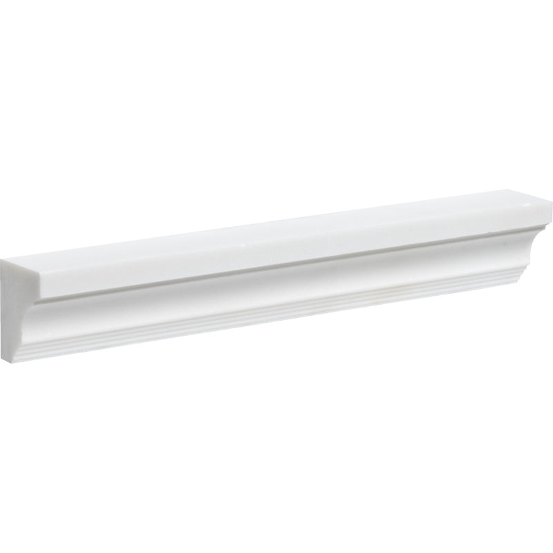 Mont Blanc White 2x12 Marble Honed Crown Molding - TILE AND MOSAIC DEPOT