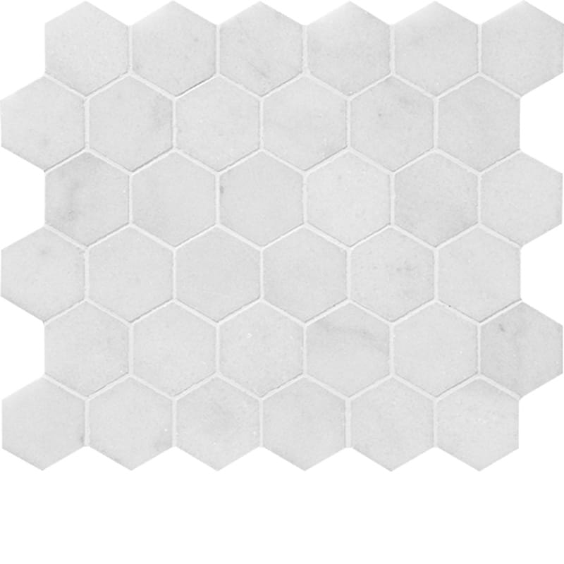 Bianco Caldo Marble 2x2 Hexagon Polished Mosaic Tile - TILE AND MOSAIC DEPOT