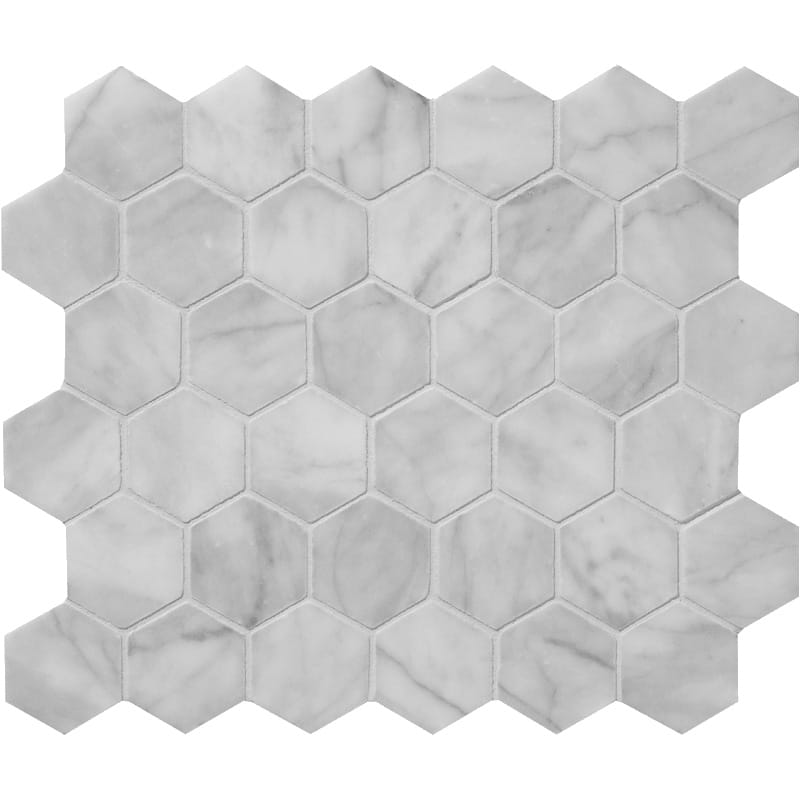 Bianco Amalfi Marble 2x2 Hexagon Honed Mosaic Tile - TILE AND MOSAIC DEPOT