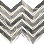 Bardiglio Thassos Chevron Polished Mosaic Tile - TILE AND MOSAIC DEPOT