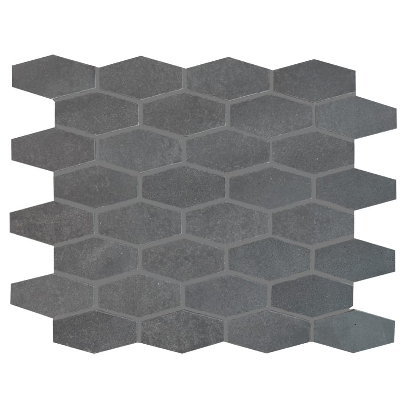 Basalt Gray Elongated Hexagon Honed Mosaic Tile - TILE AND MOSAIC DEPOT