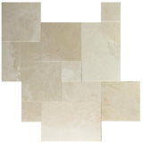 Botticino Beige Marble Brushed and Chiseled Versailles Pattern Tile - TILE AND MOSAIC DEPOT