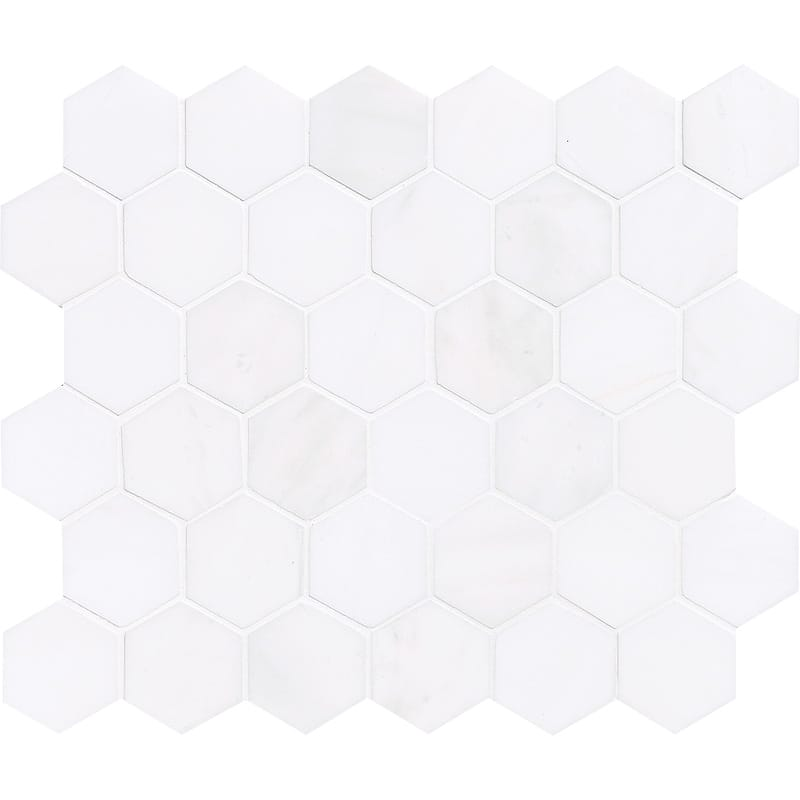 Bianco Lago Marble 2X2 Hexagon Polished Mosaic Tile - TILE AND MOSAIC DEPOT