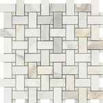 Calacatta Gold Marble Basketweave Honed Mosaic Tile - TILE AND MOSAIC DEPOT