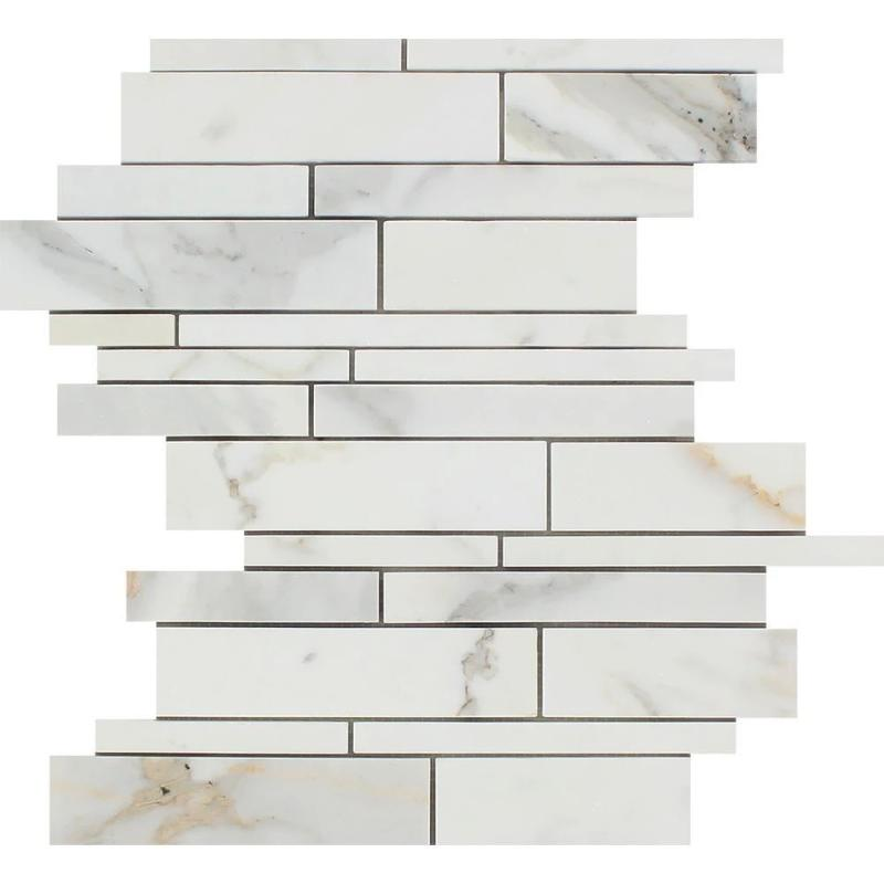Calacatta Gold Marble Random Insert Strip Honed Mosaic Tile - TILE AND MOSAIC DEPOT