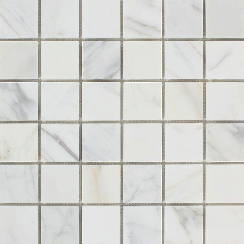 Calacatta Gold Marble 2x2 Polished Mosaic Tile - TILE AND MOSAIC DEPOT