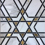 Calacatta Gold Nero Marquina Star Marble Brass Polished Mosaic Tile - TILE AND MOSAIC DEPOT