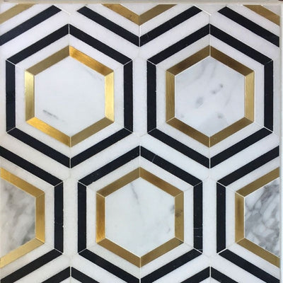Calacatta Gold Thassos Nero Marquina Hexagon Marble Polished Mosaic Tile - TILE AND MOSAIC DEPOT