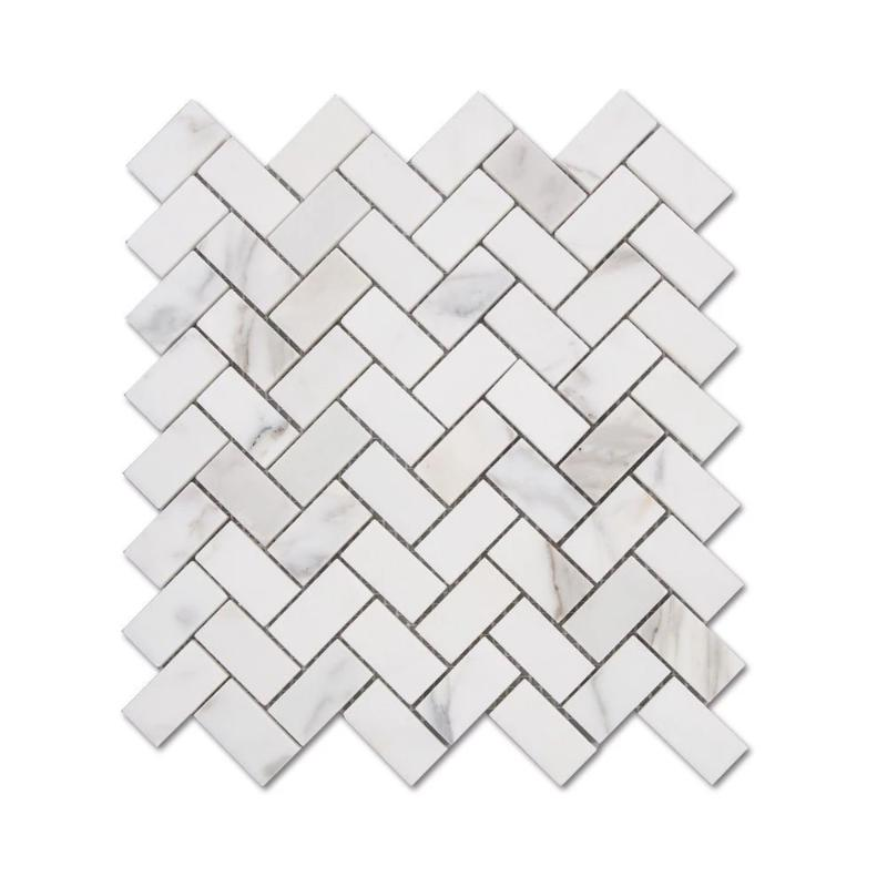 Calacatta Gold Marble 1x2 Herringbone Honed Mosaic Tile - TILE AND MOSAIC DEPOT