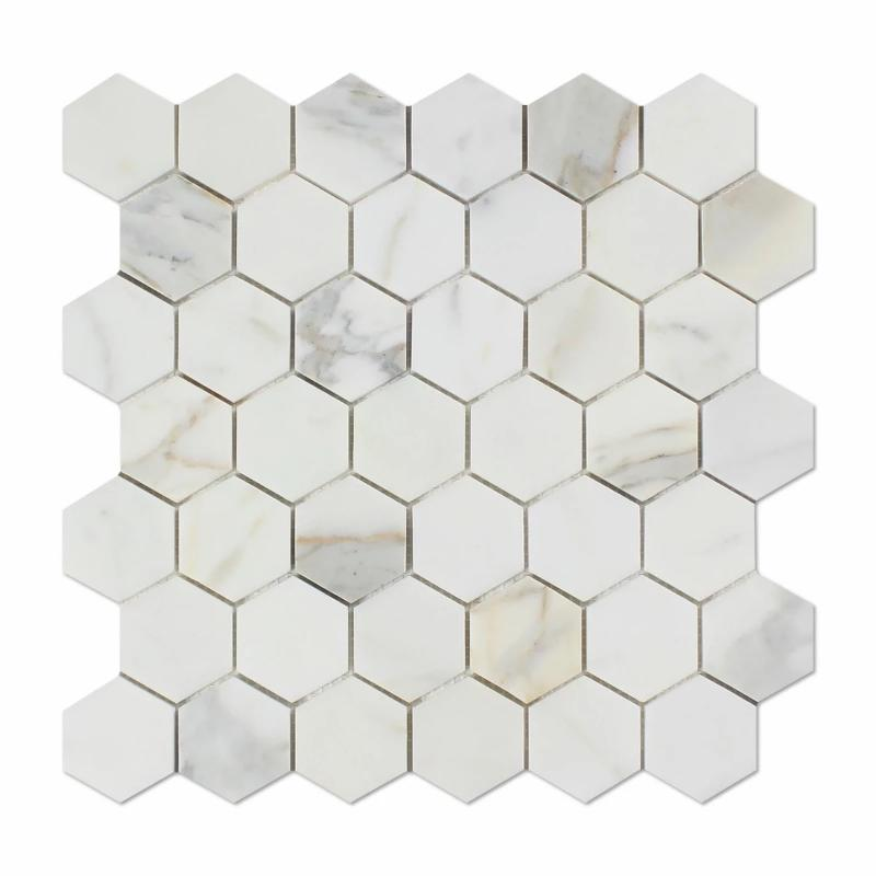 Sample Calacatta Gold Marble 2x2 Hexagon Honed Mosaic Tile - TILE AND MOSAIC DEPOT