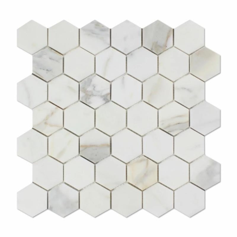 Calacatta Gold Marble 2x2 Hexagon Honed Mosaic Tile - TILE AND MOSAIC DEPOT