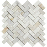 Calacatta Gold Marble 1x2 Herringbone Polished Mosaic Tile - TILE AND MOSAIC DEPOT
