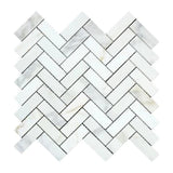 Calacatta Gold Marble 1x3 Herringbone Honed Mosaic Tile - TILE AND MOSAIC DEPOT